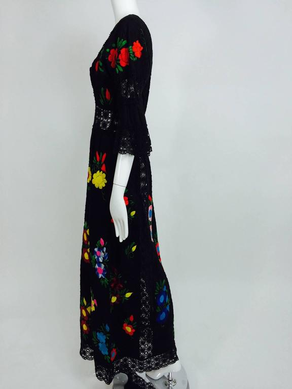 Vintage colourfully embroidered black cotton & lace Mexican maxi dress 1970s For Sale 3