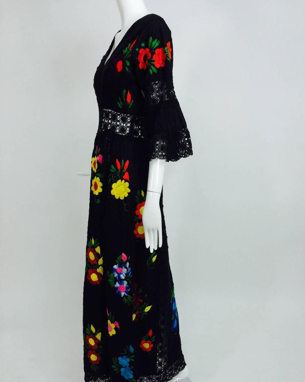Vintage colourfully embroidered black cotton & lace Mexican maxi dress 1970s For Sale 4