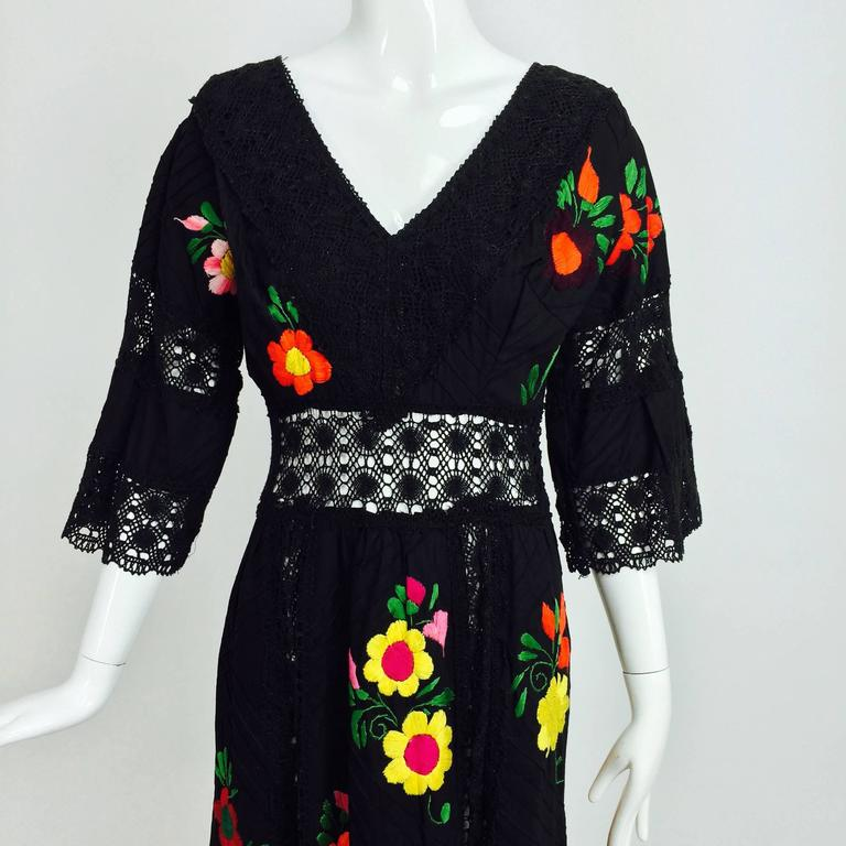 Vintage colourfully embroidered black cotton & lace Mexican maxi dress 1970s For Sale 5
