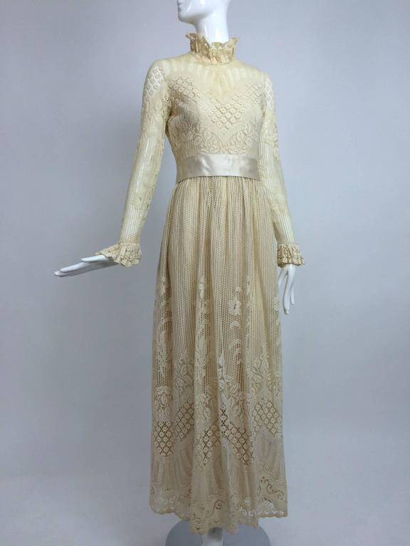 Vintage Miss Dior cream lace maxi dress 1970s 2