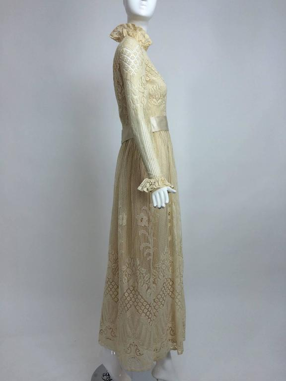 Vintage Miss Dior cream lace maxi dress 1970s 3