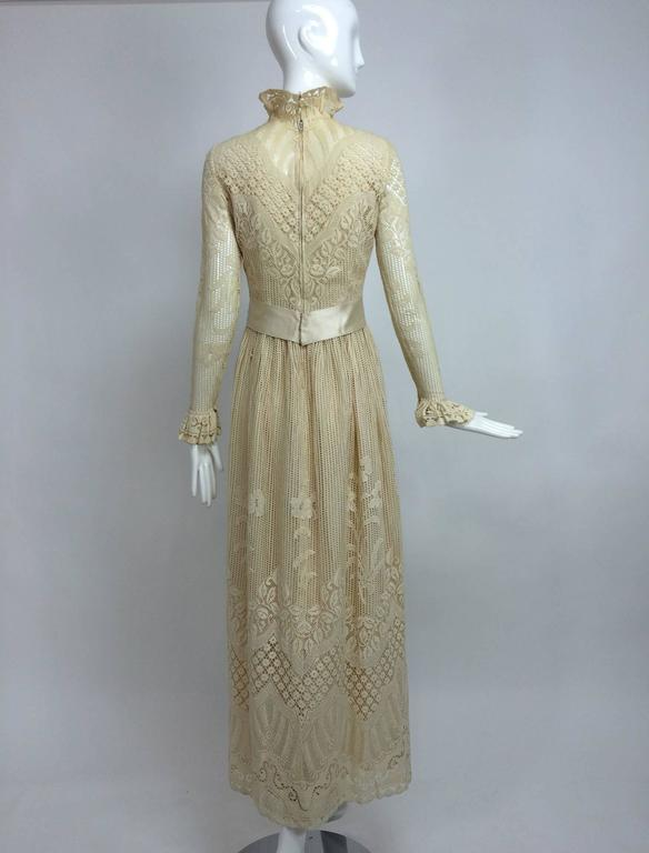 Vintage Miss Dior cream lace maxi dress 1970s 4
