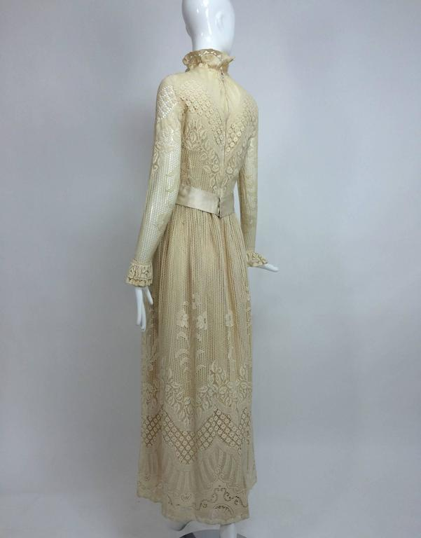 Vintage Miss Dior cream lace maxi dress 1970s 5