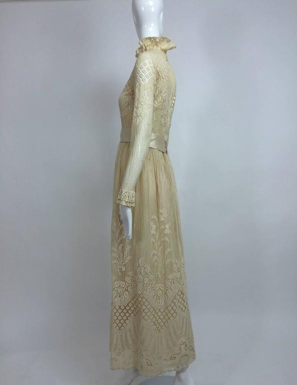 Vintage Miss Dior cream lace maxi dress 1970s 6