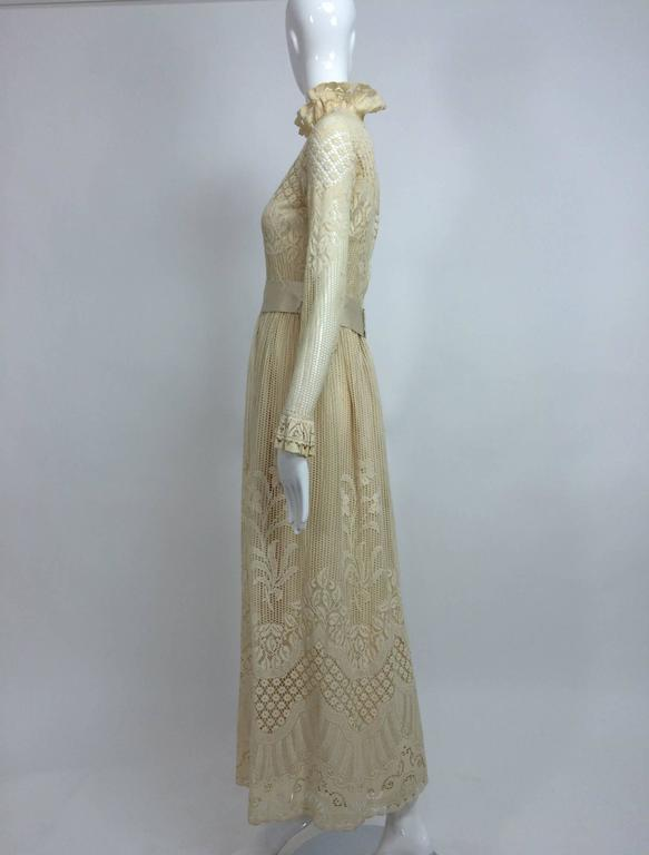 Vintage Miss Dior cream lace maxi dress 1970s 7