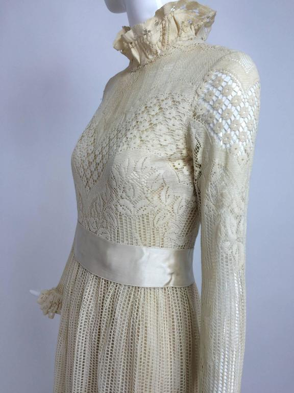 Vintage Miss Dior cream lace maxi dress 1970s 8