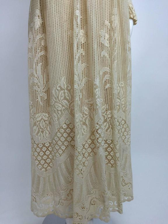 Vintage Miss Dior cream lace maxi dress 1970s 9