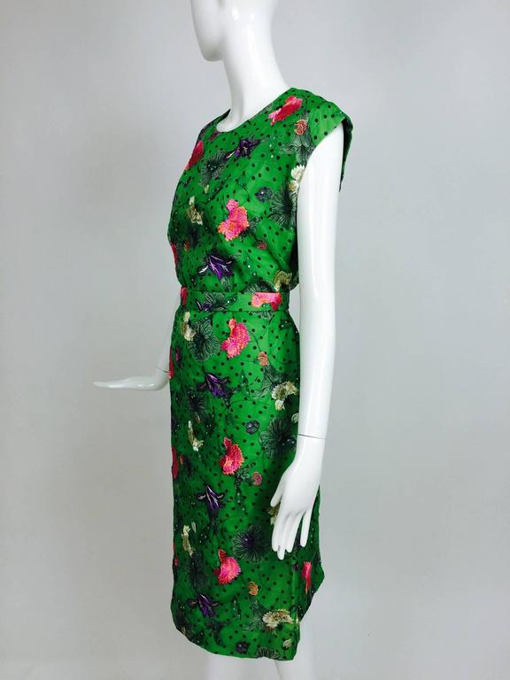 Vintage one off Custom Grass green embroidered silk organdy sheath dress 14 For Sale 1