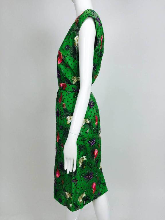 Vintage one off Custom Grass green embroidered silk organdy sheath dress 14 For Sale 2
