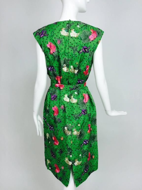 Vintage one off Custom Grass green embroidered silk organdy sheath dress 14 For Sale 3