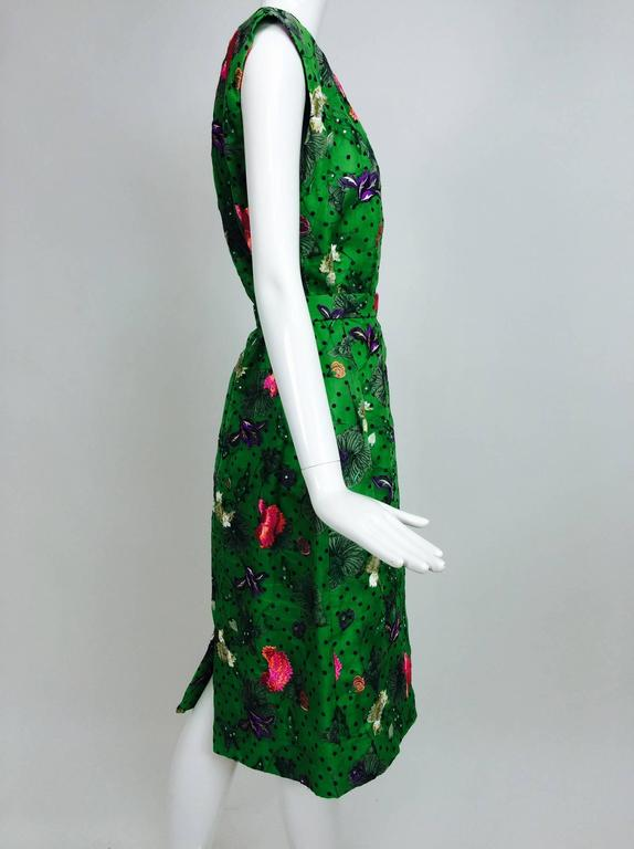 Vintage one off Custom Grass green embroidered silk organdy sheath dress 14 For Sale 5