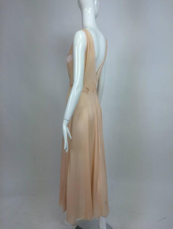Vintage hand made pleated silk chiffon bias cut appliqued night gown 1930s 6