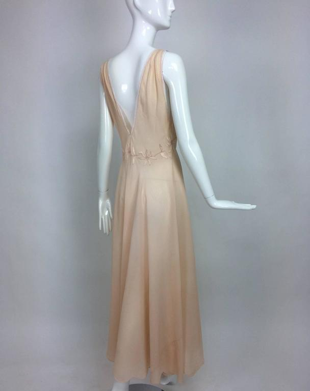 Vintage hand made pleated silk chiffon bias cut appliqued night gown 1930s 3