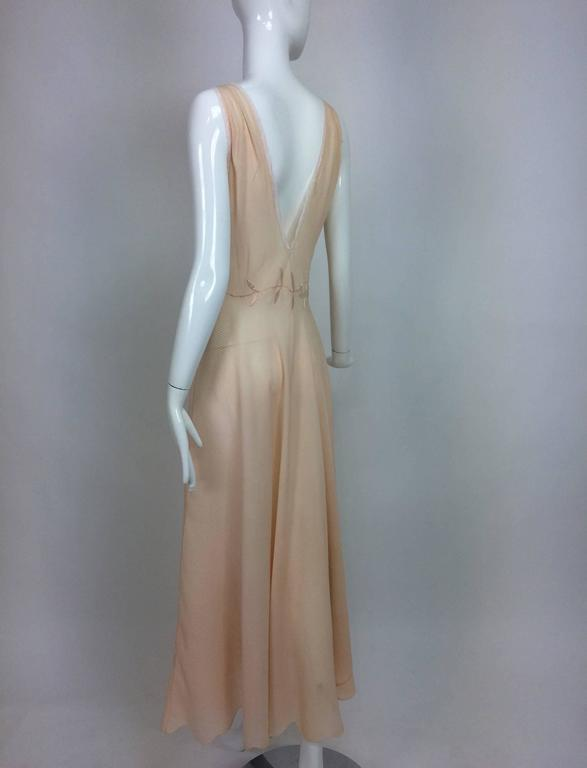 Vintage hand made pleated silk chiffon bias cut appliqued night gown 1930s 5