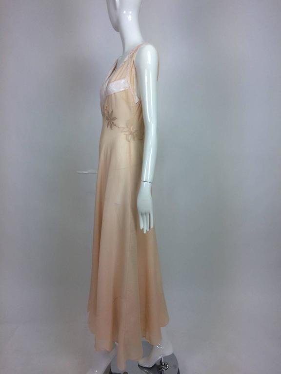 Vintage hand made pleated silk chiffon bias cut appliqued night gown 1930s 7