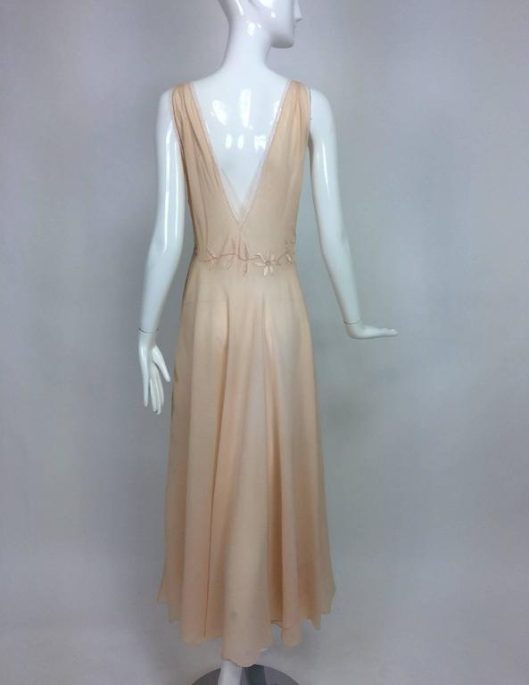 Vintage hand made pleated silk chiffon bias cut appliqued night gown 1930s 9