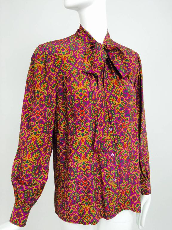 Brown Vintage Yves Saint Laurent YSL Moorish silk print blouse 1970s For Sale