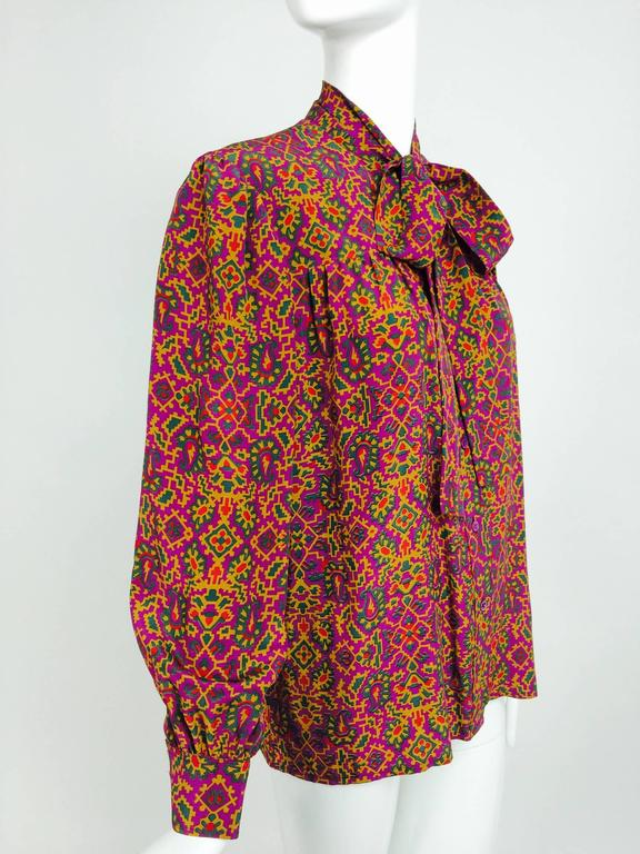 Vintage Yves Saint Laurent YSL Moorish silk print blouse 1970s In Excellent Condition For Sale In West Palm Beach, FL