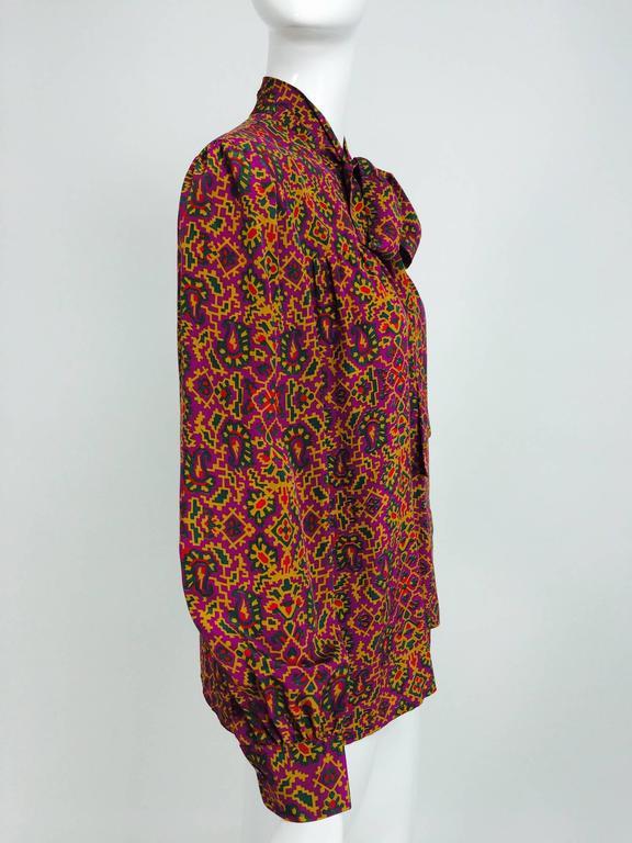 Women's Vintage Yves Saint Laurent YSL Moorish silk print blouse 1970s For Sale