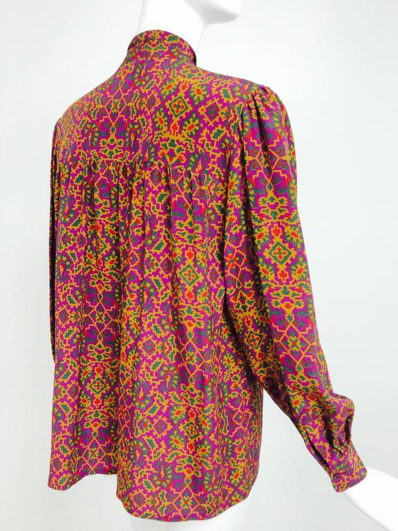 Vintage Yves Saint Laurent YSL Moorish silk print blouse 1970s For Sale 1
