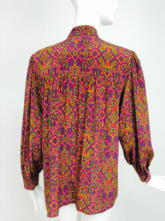 Vintage Yves Saint Laurent YSL Moorish silk print blouse 1970s For Sale 2
