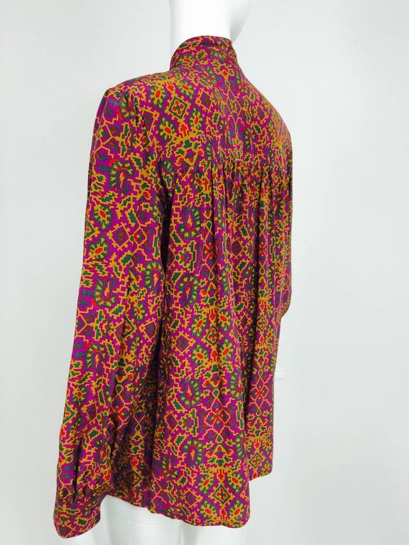 Vintage Yves Saint Laurent YSL Moorish silk print blouse 1970s For Sale 3