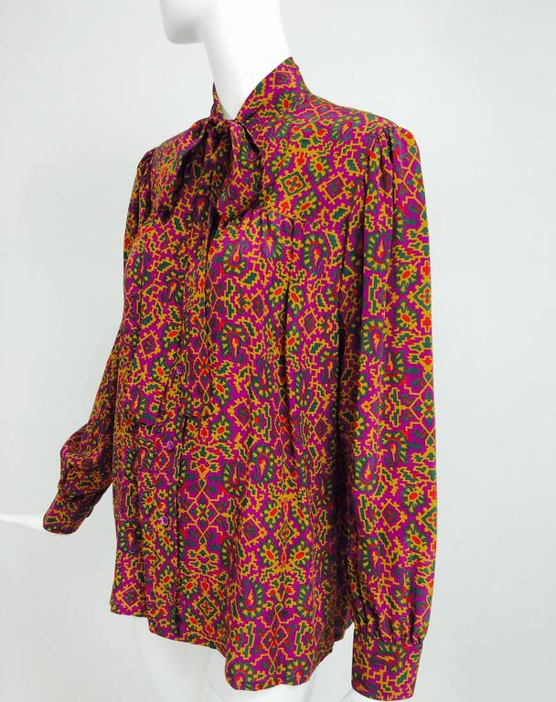 Vintage Yves Saint Laurent YSL Moorish silk print blouse 1970s For Sale 4