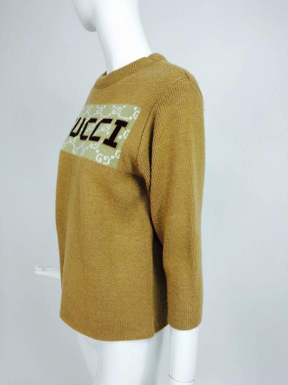 Vintage Gucci novelty logo sweater 1970s In Excellent Condition For Sale In West Palm Beach, FL