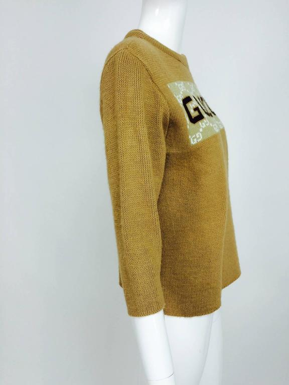 Vintage Gucci novelty logo sweater 1970s For Sale 3