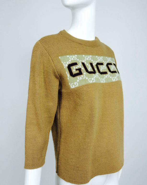 Vintage Gucci novelty logo sweater 1970s For Sale 4