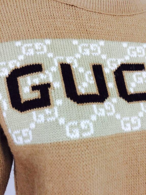 Vintage Gucci novelty logo sweater 1970s For Sale 5