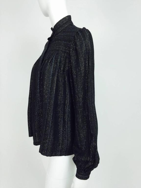 Black Vintage Yves Saint Laurent YSL black metallic stripe gauze peasant top 1970s For Sale