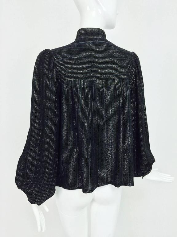 Vintage Yves Saint Laurent YSL black metallic stripe gauze peasant top 1970s In Excellent Condition For Sale In West Palm Beach, FL