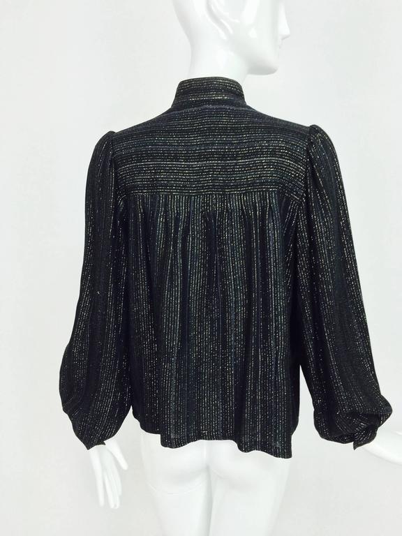 Women's Vintage Yves Saint Laurent YSL black metallic stripe gauze peasant top 1970s For Sale