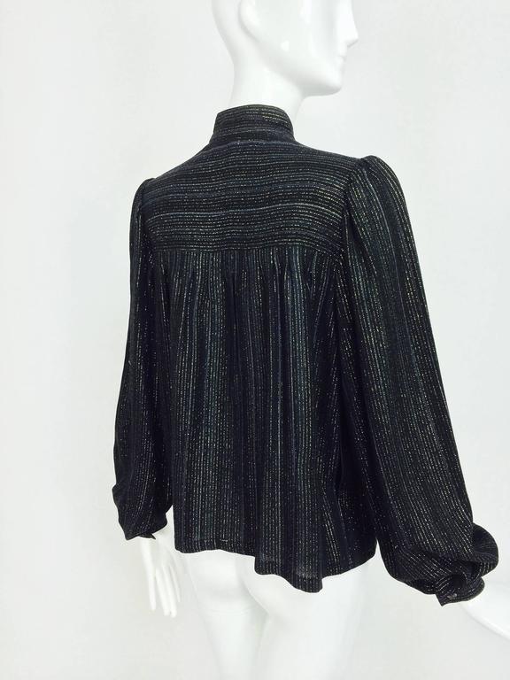 Vintage Yves Saint Laurent YSL black metallic stripe gauze peasant top 1970s For Sale 1
