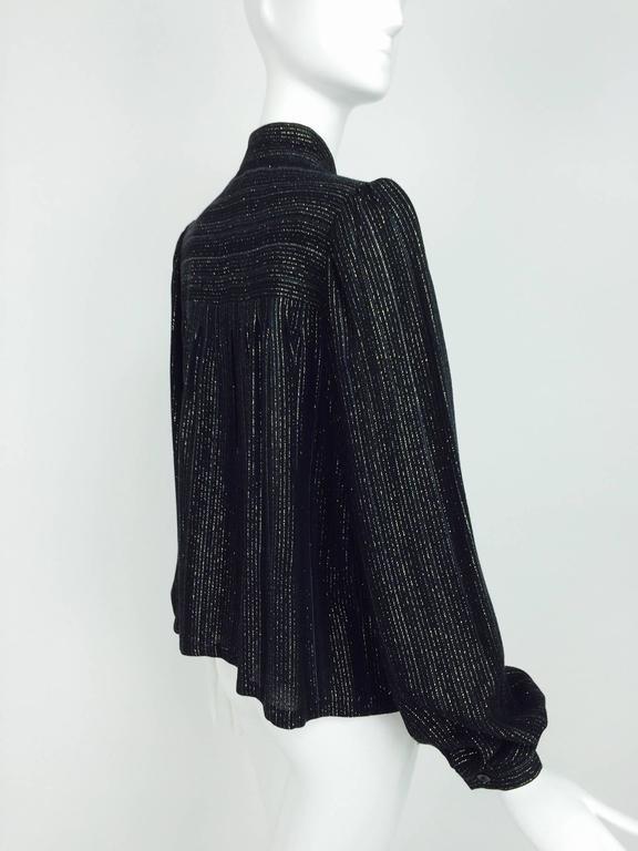 Vintage Yves Saint Laurent YSL black metallic stripe gauze peasant top 1970s For Sale 2