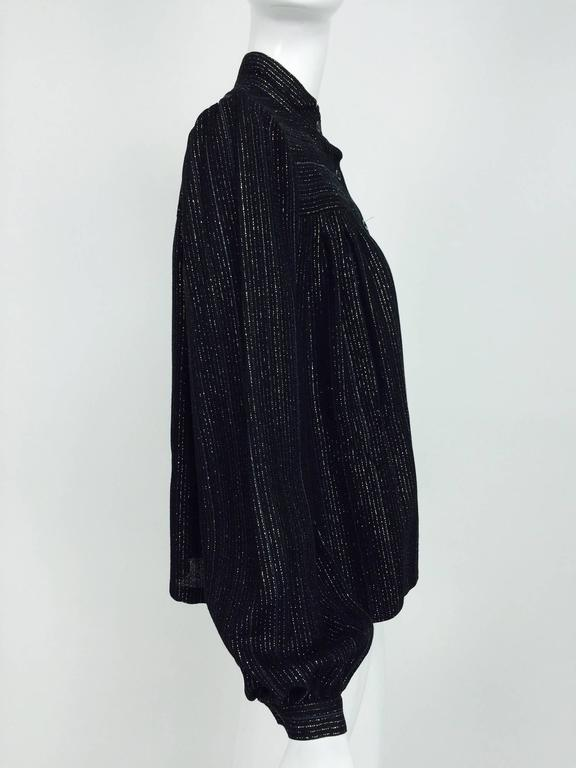 Vintage Yves Saint Laurent YSL black metallic stripe gauze peasant top 1970s For Sale 3