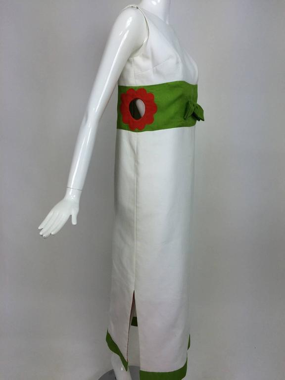 Gray Vintage mod style novelty white pique maxi dress with open flower sides 1960s For Sale