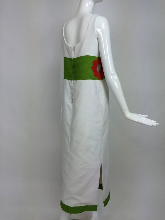 Women's Vintage mod style novelty white pique maxi dress with open flower sides 1960s For Sale