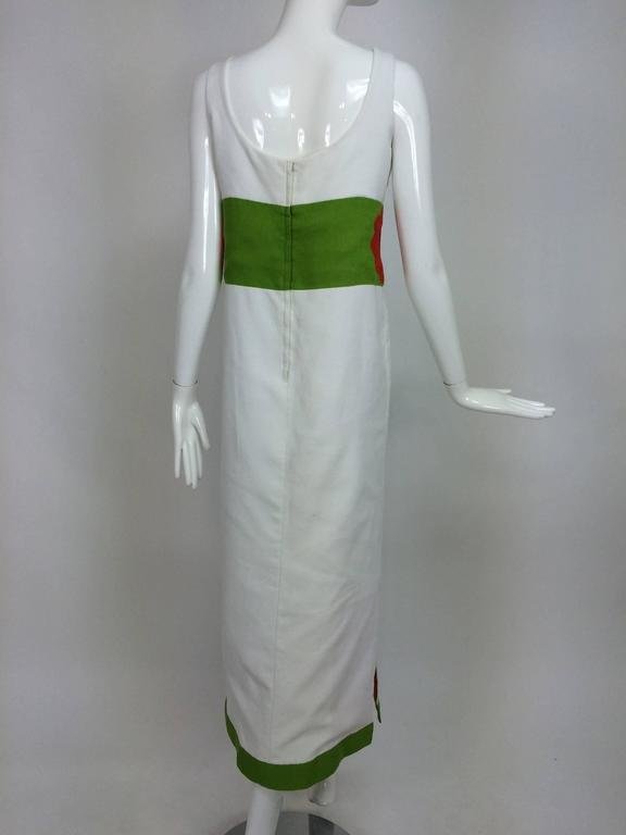 Vintage mod style novelty white pique maxi dress with open flower sides 1960s 6