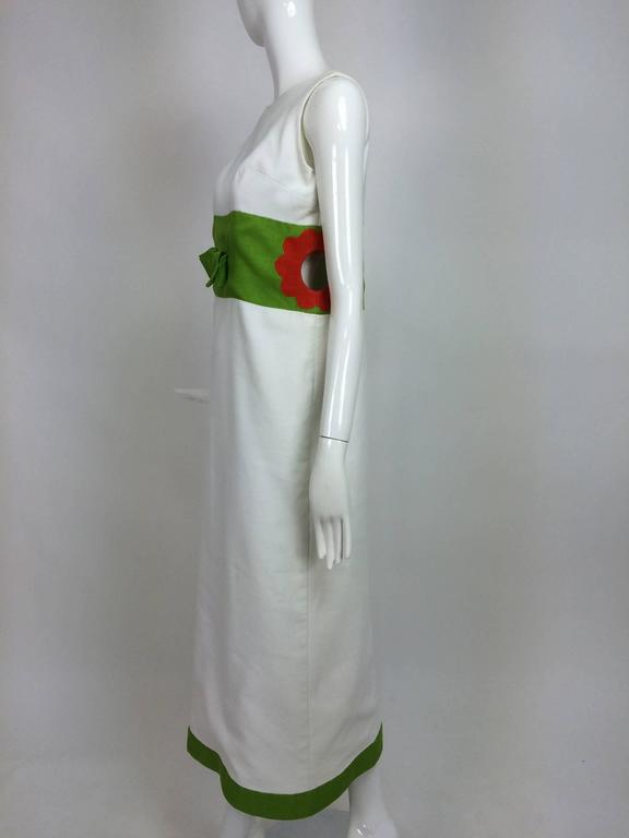 Vintage mod style novelty white pique maxi dress with open flower sides 1960s 8