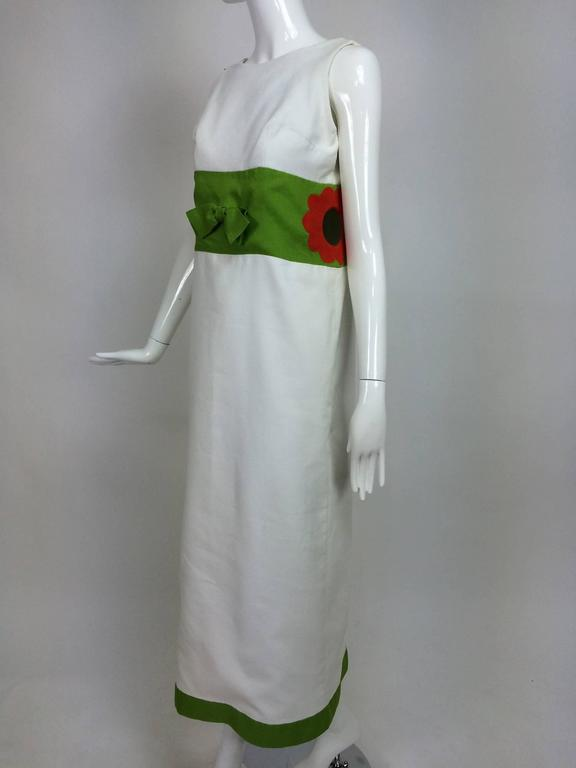 Vintage mod style novelty white pique maxi dress with open flower sides 1960s 9