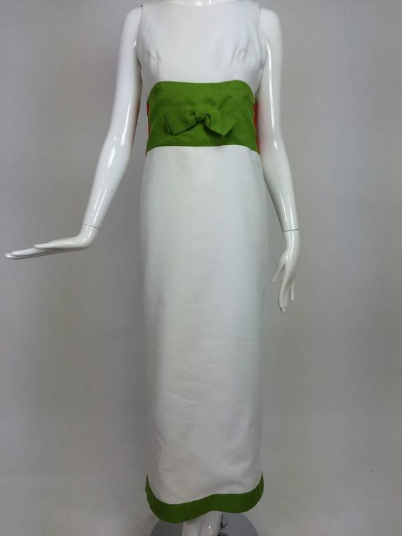 Vintage mod style novelty white pique maxi dress with open flower sides 1960s 10