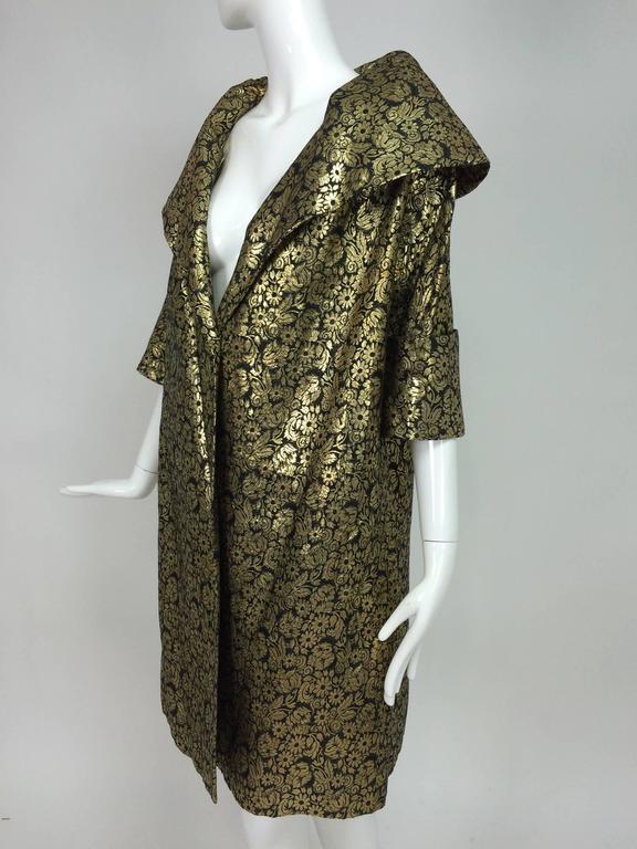 Vintage Gold Brocade Shawl Collar Evening Coat 1950s At
