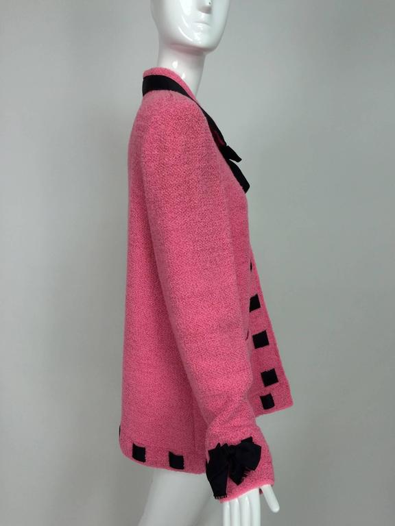 Pink Vintage Adolfo pink & black ribbon trim boucle jacket 1970s For Sale