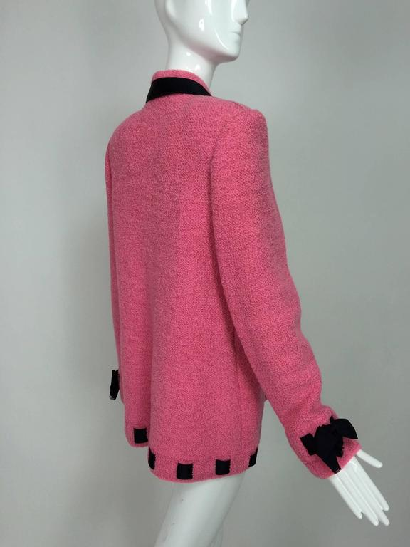 Vintage Adolfo pink & black ribbon trim boucle jacket 1970s In Excellent Condition For Sale In West Palm Beach, FL