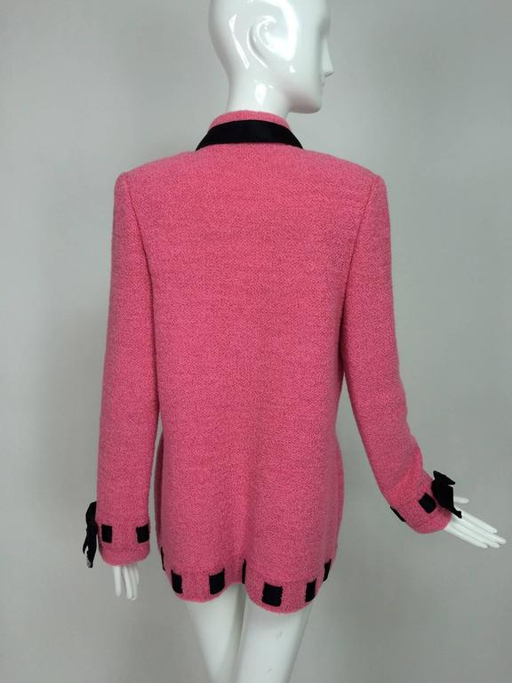Women's Vintage Adolfo pink & black ribbon trim boucle jacket 1970s For Sale