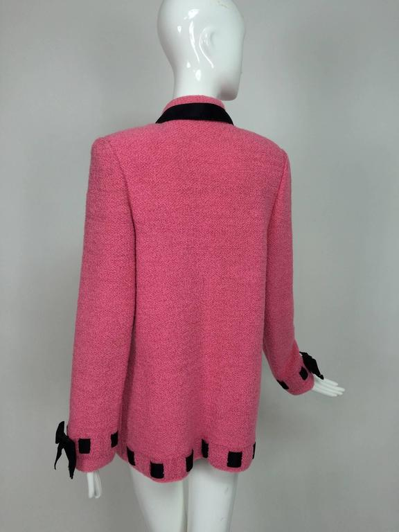 Vintage Adolfo pink & black ribbon trim boucle jacket 1970s For Sale 1