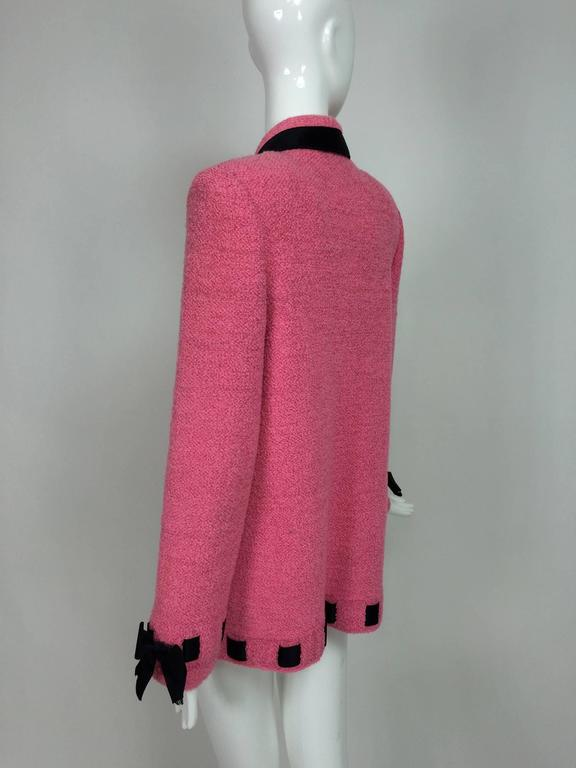 Vintage Adolfo pink & black ribbon trim boucle jacket 1970s For Sale 2