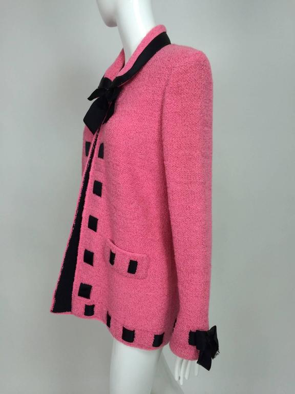 Vintage Adolfo pink & black ribbon trim boucle jacket 1970s For Sale 3